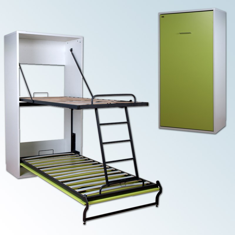 Litera abatible vertical con 2 camas de 90 cm for Mueble litera abatible vertical