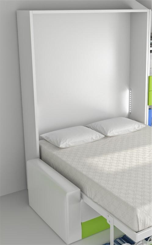 Cama abatible vertical con estante y sof disponible en - Camas abatibles medidas ...