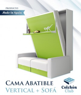 Cama Abatible Vertical con estante y Sofá disponible en diferentes medidas y colores Ref N16000