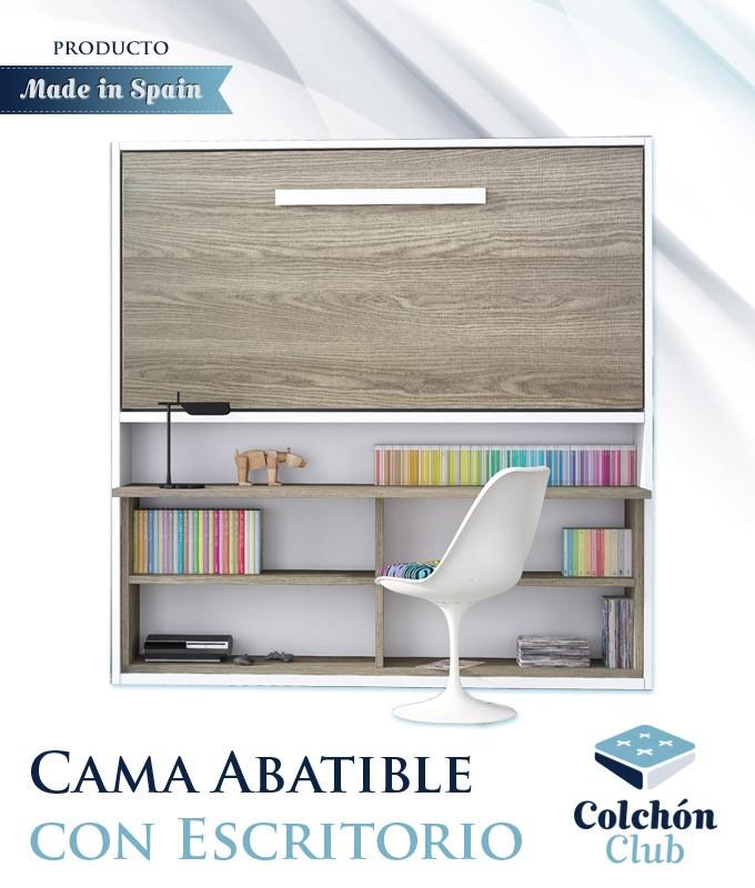 Cama Abatible con Zona de Estudio disponible en diferentes medidas y colores Ref N17000