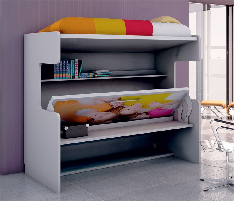 Litera con cama abatible y escritorio disponible en gran for Cama litera con escritorio