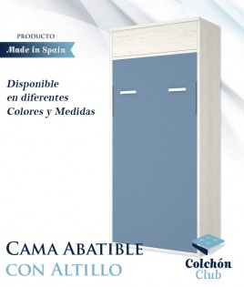 Cama Abatible Vertical con altillo disponible en diferentes colores y medidas Ref Y39000