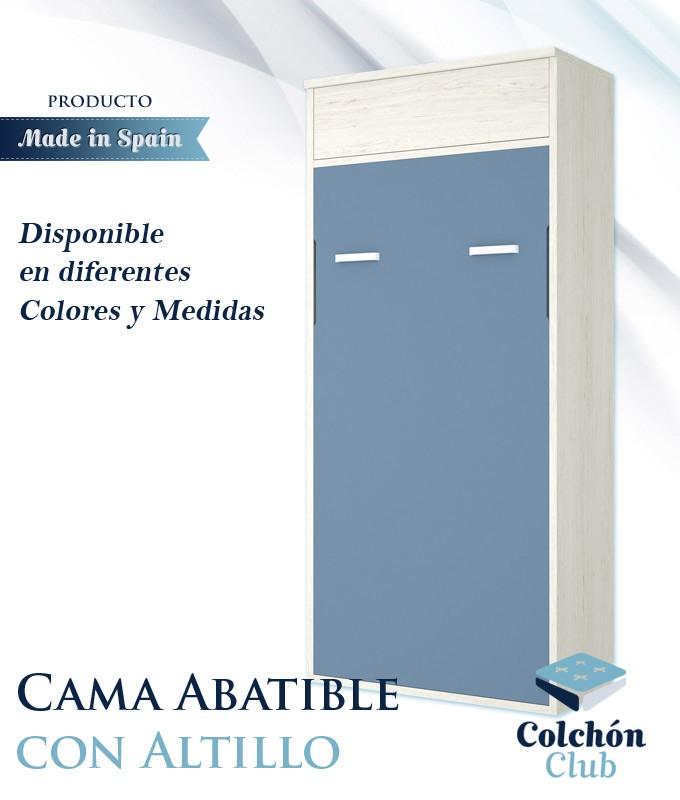 Cama Abatible Vertical con altillo disponible en diferentes colores y medidas Ref Y39000