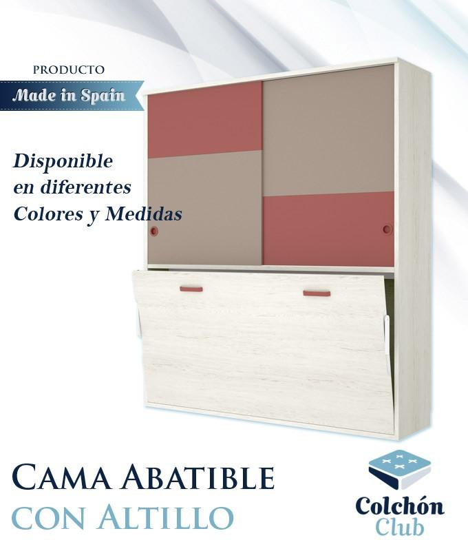 Cama Abatible Horizontal individual con altillo superior Ref Y36000