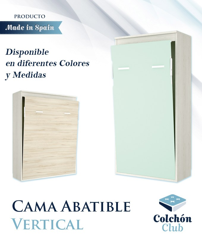 Cama Abatible Vertical disponible en diferentes colores y medidas Ref Y31000
