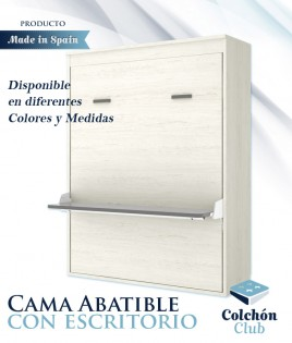 Cama Abatible Vertical matrimonial con escritorio disponible en diferentes colores y medidas Ref Y32000