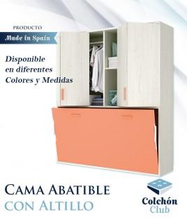 Cama Abatible Horizontal individual con altillo superior Ref Y38000