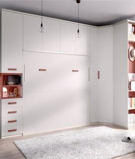Dormitorio cama matrimonial abatible con altillo y armarios laterales Ref YH413