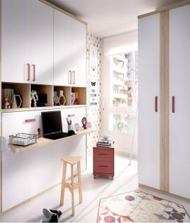Dormitorio cama abatible con altillo y armario de 2 puertas Ref YH401