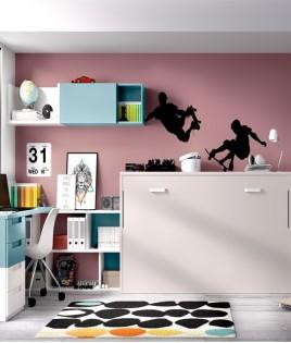 Dormitorio con cama abatible, escritorio y módulos estantes Ref YH406