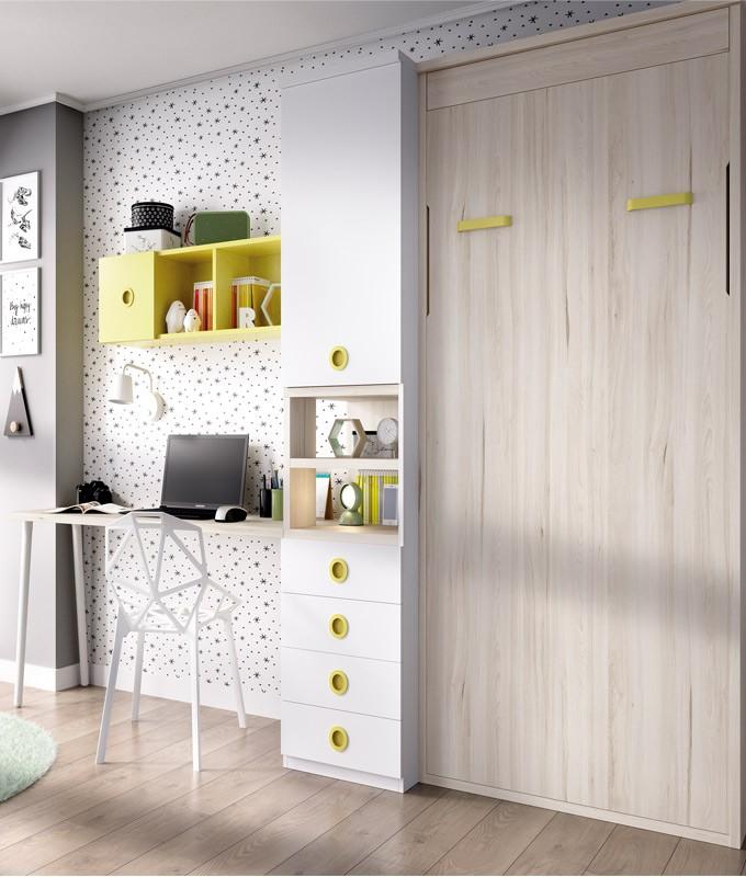 Dormitorio con cama abatible, escritorio y armario Ref YH407