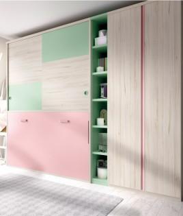 Dormitorio cama abatible con armario superior y armario de 2 puertas Ref YH402
