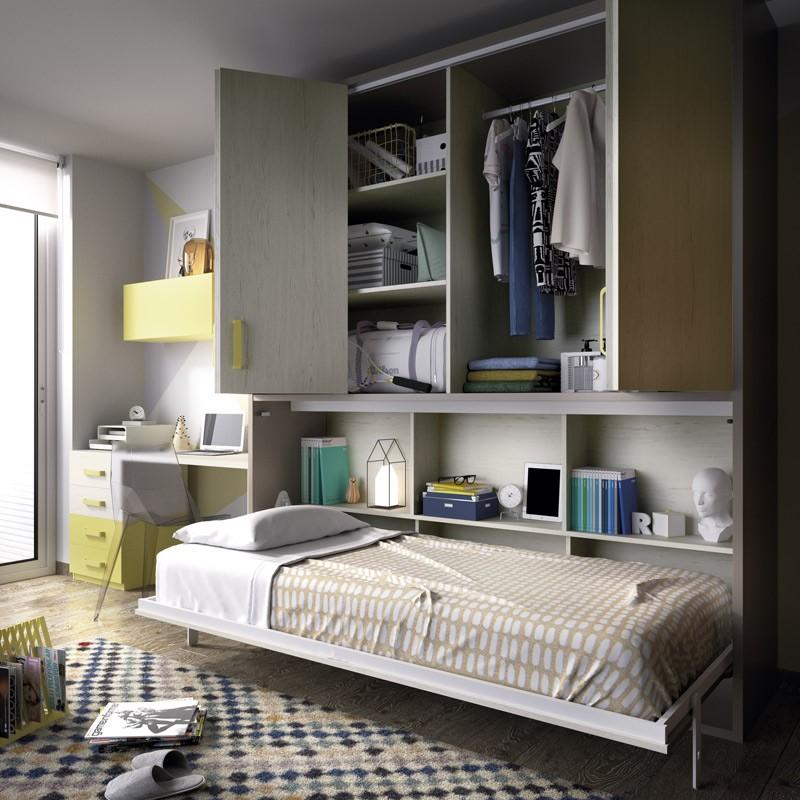 Dormitorio con cama abatible con armario superior y - Escritorio dormitorio ...