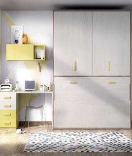Dormitorio con cama abatible con armario superior y escritorio Ref YH403