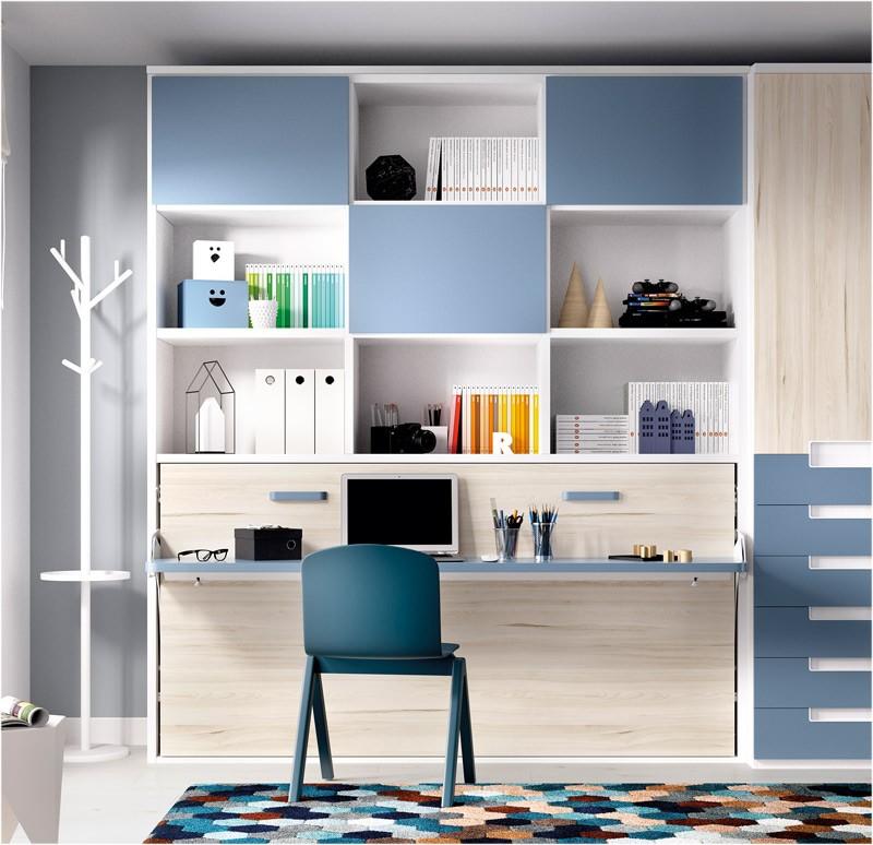 Dormitorio cama abatible con estanteria superior y armario - Estanteria interior armario ...