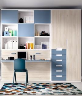 Dormitorio cama abatible con estanteria superior y armario de 2 puertas Ref YH404