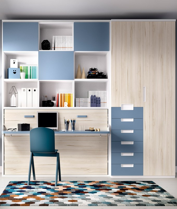 Dormitorio cama abatible con estanteria superior y armario de 2 puertas ref yh404 - Armario estanteria ...