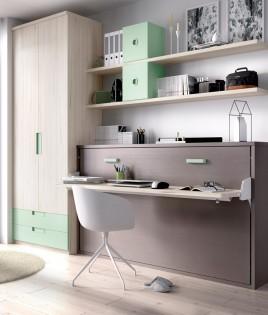 Dormitorio con cama abatible con escritorio, armario de 2 puertas y estanterías Ref YH405