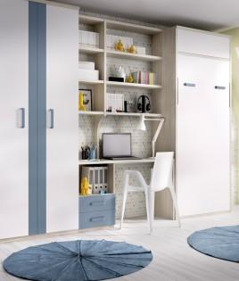 Dormitorio con cama abatible vertical con altillo, escritorio y armario Ref YH409