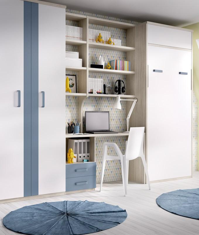 Dormitorio con cama abatible vertical con altillo - Cama empotrada en armario ...