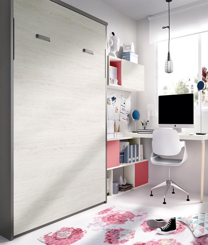 Dormitorio con cama abatible matrimonial, escritorio estantes Ref YH410