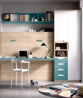 Dormitorio con cama abatible matrimonial con escritorio, armario de 2 puertas y estante Ref YH411