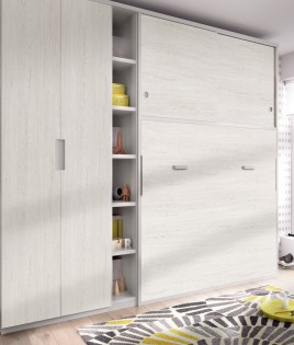 Dormitorio con cama abatible matrimonial con altillo, armario y estantería Ref YH414
