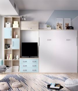 Dormitorio con cama abatible matrimonial, estantería y comodín Ref YH415