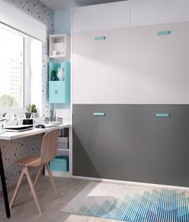 Dormitorio con litera abatible con altillo, escritorio y estantes Ref YH416