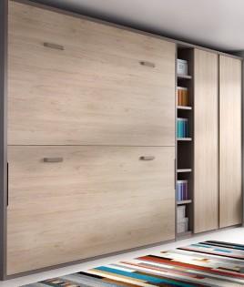Dormitorio con litera abatible, armario, escritorio y estantes Ref YH417