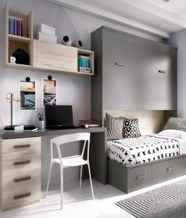 Dormitorio con cama abatible, cama nido inferior y escritorio Ref YH418