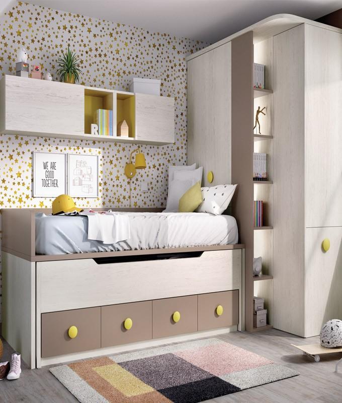 Dormitorio Juvenil Con 2 Camas Armario Con Escritorio Extraible Y Módulos Estantes Ref Yh102
