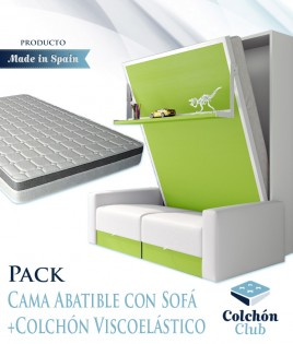 Pack Cama Abatible Vertical con estante, Sofá y Colchón Viscoelastico Ref N29000
