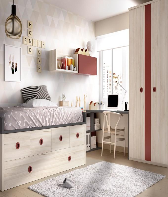 Dormitorio Juvenil con 2 camas, armario, escritorio y módulos estantes Ref YH107