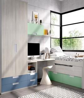 Dormitorio Juvenil con 2 camas, armario, escritorio y módulos estantes Ref YH114