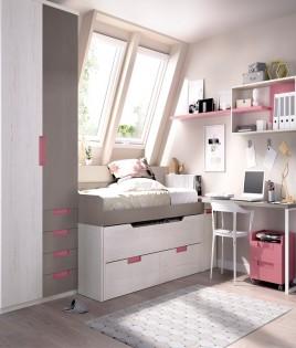 Dormitorio Juvenil con 2 camas, armario, escritorio y módulos estantes Ref YH124