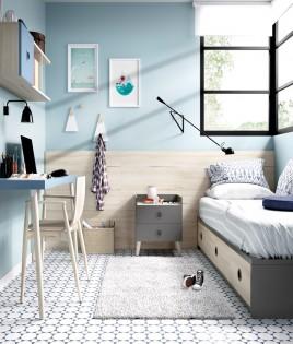 Dormitorio Juvenil con cama, escritorio y módulo estante Ref YH202
