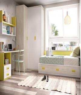 Dormitorio Juvenil con cama, armario rincón, escritorio y módulo estante Ref YH203