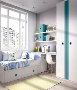 Dormitorio Juvenil con 2 camas, armario, escritorio y estantes Ref YH204
