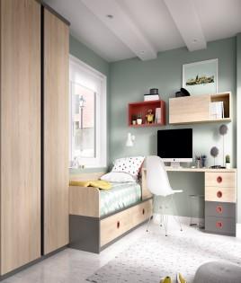 Dormitorio Juvenil con cama, armario, escritorio y módulo estante Ref YH208