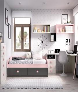 Dormitorio Juvenil con cama, xifonier, escritorio rincón y módulos estantes Ref YH212
