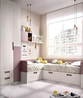 Dormitorio Juvenil con 2 camas, armario y módulos estantes Ref YH214