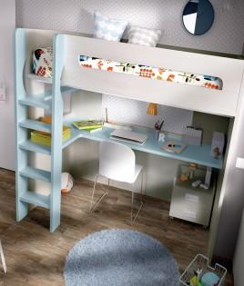 Dormitorio Juvenil con cama y escritorio con cajonera Ref YH303