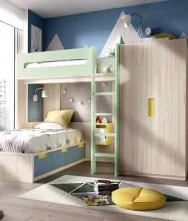 Dormitorio Juvenil litera con cajones contenedores y armario Ref YH305
