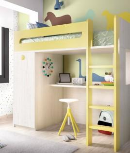 Dormitorio Juvenil con cama, armario y escritorio Ref YH306