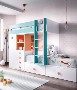 Dormitorio Juvenil con litera y armario integrado Ref YH312