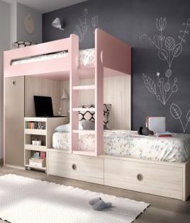 Dormitorio Juvenil con litera, arcón y armario integrado Ref YH313