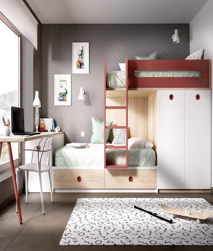 Dormitorio juvenil con litera arc n armario integrado y for Dormitorios con literas