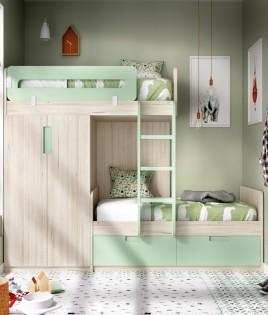 Dormitorio Juvenil con litera y armario integrado Ref YH318