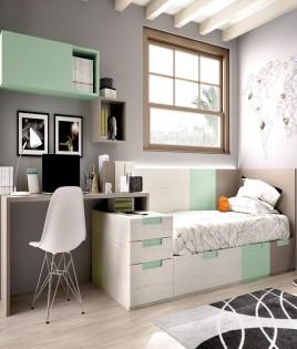 Dormitorio Juvenil cama con contenedores, escritorio y módulos estantes Ref YH501